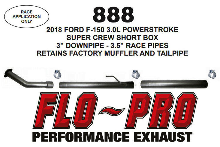 Flo Pro DPF CAT Delete Pipes Part #888 - 2018 Ford F150 3.0L Powerstroke Diesel